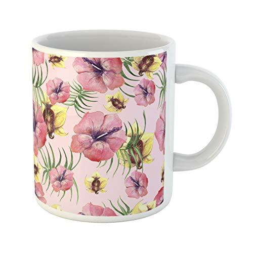 Semtomn Funny Coffee Mug Set of Tropical Plants Tropics Flowers Kolaj Modern Design for 11 Oz Ceramic Coffee Mugs Tea Cup Best Gift Or Souvenir -