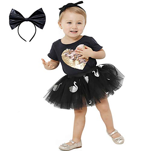 Girls Layered Tulle Tutu Skirts for Birthday Party 3-7 Years Old Baby Girl Black Swan Glitter Tutus with LOL Headband
