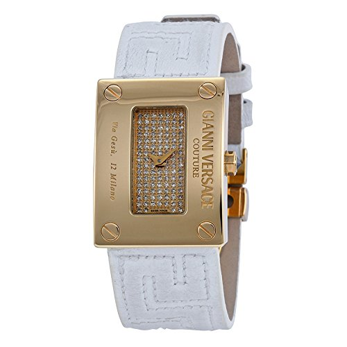 Versace Gold Diamond-set White Leather Strap Ladies Watch 72Q00SD91F-S001