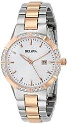 Bulova Women's 98R169 Two-Tone Watch with Diamond-Accented Bezel