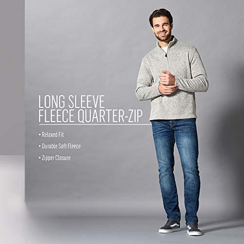Wrangler Authentics Men's Sweater Fleece Quarter-Zip, Caviar, X-Large