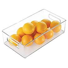 "InterDesign Plastic Portable Deep Storage Bin with Handles for Organizing Refrigerator, Freezer, Pantry, BPA-Free, 8"" x 4"" x 14.5"", Clear"
