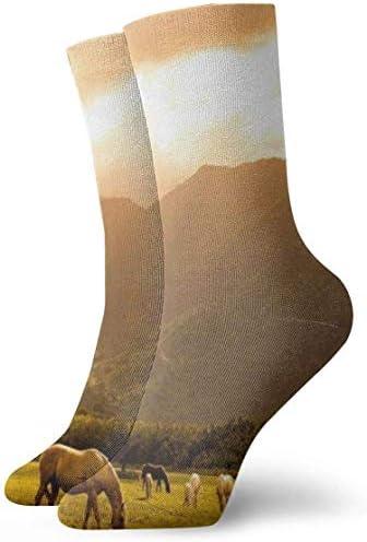男性用、女性用、子供用の無料の馬の 足首のソックス30cmの綿の運動クルーソックス