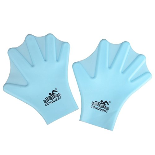 Flammi Unisex Children Kids Silicone Webbed Swim Gloves Closed Full Finger Gloves for Diving Snorkeling (Pair, - In Hand Paddle