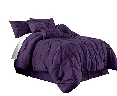 Chezmoi Collection Sydney 7-Piece Pinch Pleat Pintuck Bedding Comforter Set (Queen, Purple)