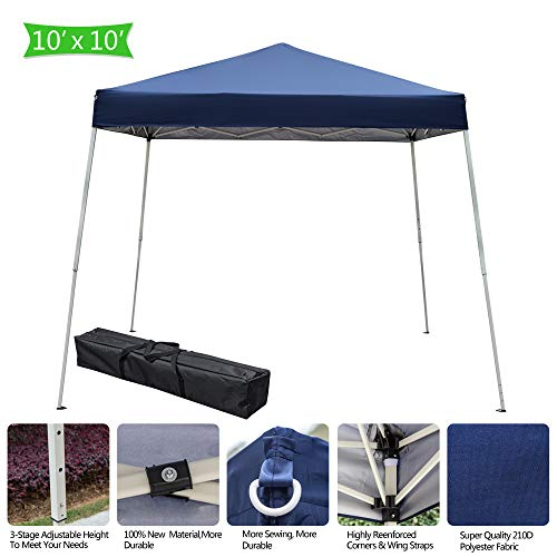 10x10 ft Easy Pop Up Patio Yard Sun Shade BBQ Canopy Tent with Carry Bag, Slant Leg Portable Instant Folding Gazebo Canopy Shelter (US Stock)