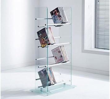 Dvd Cd Ständer Regal 108 Dvds Aus Glas Aluminium Küche Haushalt