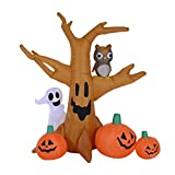 HOMCOM 7.5' Tall Outdoor Lighted Airblown Inflatable Halloween Decoration - Haunted Tree with Owl/Ghost / Pumpkins