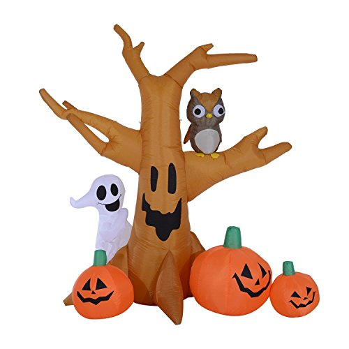 HOMCOM 7.5' Tall Outdoor Lighted Airblown Inflatable Halloween Decoration - Haunted Tree with Owl/Ghost / Pumpkins by HOMCOM