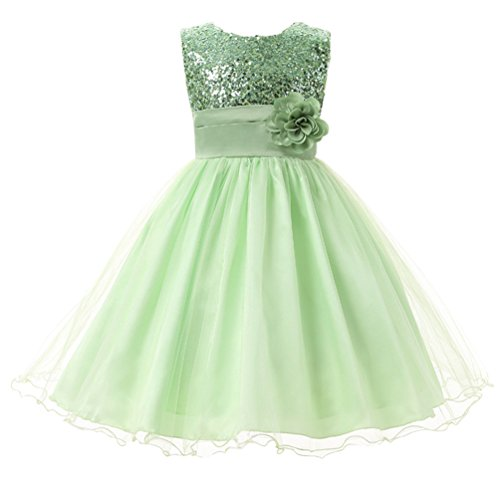 (Csbks Little Girl Flower Sequin Princess Tulle Party Dress Birthday Ball Gowns 5)