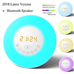 (2017 Latest Version)Sunrise Alarm Clock, Bluetooth Speaker Function Wake up light, Alarm Clock with 6 Nature Sounds, FM Radio, 7 Colors Night Light,Touch Control, Snooze, USB Charger and AUX Function