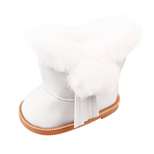 Witspace Winter Plush Snow Boots For 18 Inch American Girl Dolls Shoes (White, For 18