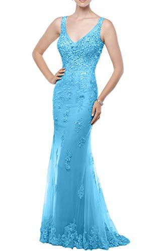 Meerjungfrau Rock La Brautmutterkleider Spitze Champagner Marie Festlichkleider Langes Braut Abendkleider Blau qaqwT7