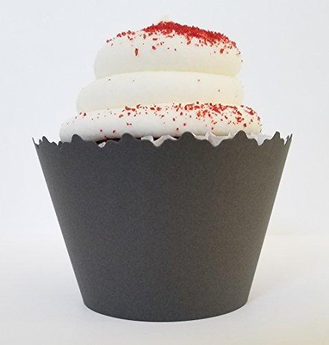 Carbón Gris Oscuro DE Envoltorios para cupcakes (–Conjunto de 12–Gris maletero de un accesorio imprescindible...