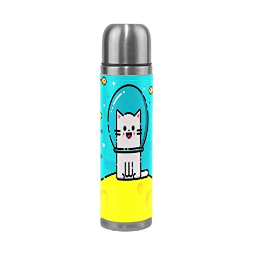 - OuLian Emoji Cat Water Bottle Stainless Steel Leak Proof Double Wall Vacuum Insulated Thermos Flask Genuine Leather Cover for Hot and Cold Drinks 17 Oz