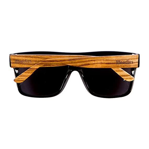 Woodies Zebra Wood Aviator Wrap Sunglasses with Black Polarized Lenses 3 COMFORTABLE: Handmade from REAL Zebra Wood (50% Lighter than Ray-Bans) EXTRAS: Includes FREE Carrying Case, Lens Cloth, and Wood Guitar Pick PROTECTION: Polarized Lenses Provide 100% UVA/UVB Protection