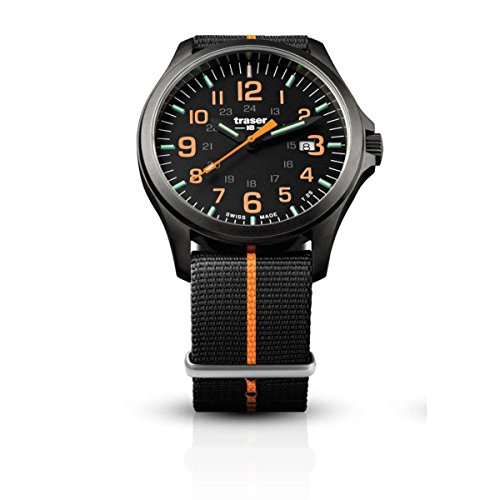traser H3 Black/Orange P67 Officer Pro Gunmetal Watch | Textile Strap