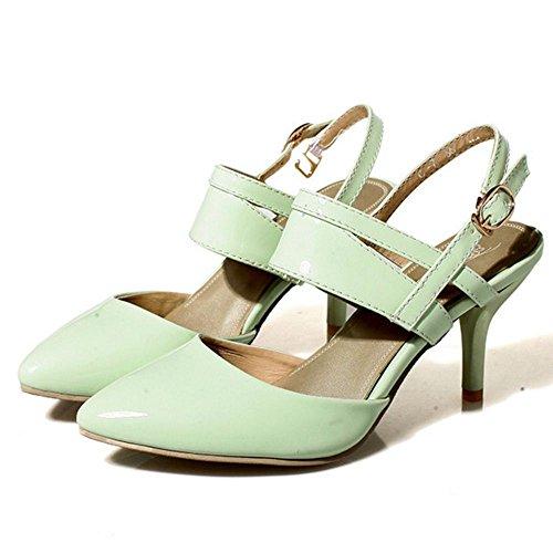 COOLCEPT Zapato Mujer Moda Puntiagudo Tacon medio delgado Sandalias for Fiesta Trabajo Mini Size Light Verde