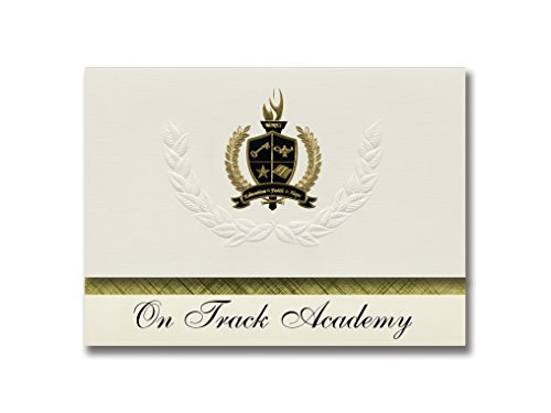 On Track Academy (Spokane, WA) Graduation Announcements, Presidential style, Elite package of 25 with Gold & Black Metallic Foil - Packages Track Address By