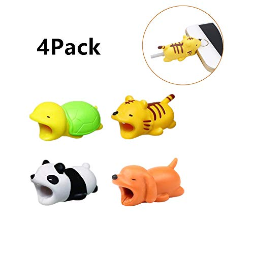 (4 Pack Compatible iPhone Cable Biters, Cable Chompers Protector, Cable Chewers Cable bite Protector Data line Accessory-Panda,Tiger,Puppy,Turtle)
