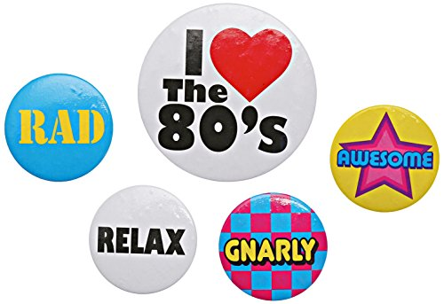 Beistle 60474 5-Pack 80's Party Buttons, 2-1/3-Inch and 1-1/3-Inch