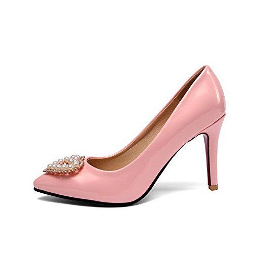 Stilettos y Tirador sólido Rosa para cerrada en zapatos Spikes Bombas mujer punta Odomolor 5xqvBI