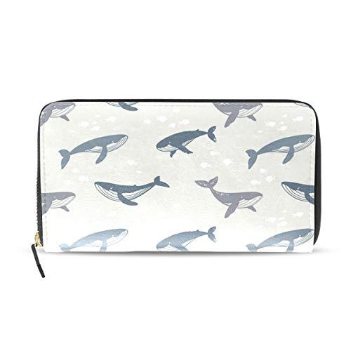 Miami Dolphin Football Show Travel Wallet Double Folding Long Wallet Zipper Multi-card Bag Zipper Pocket Leather Zipper Buckle Elegant Clutch Bag Wallet ()