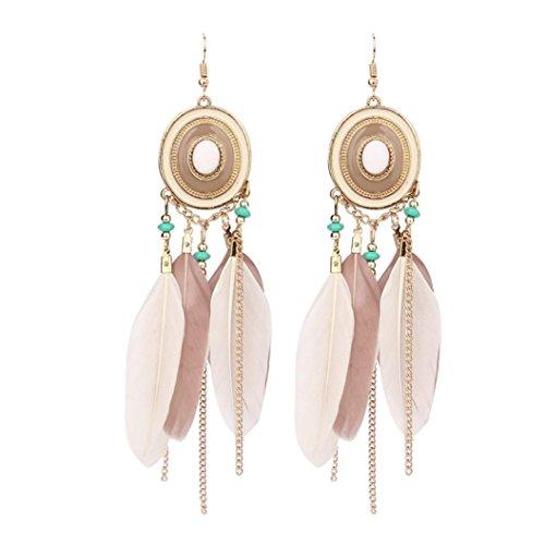 Beuu Bohemian Dropping Disc Feather Earrings Long Design Dream Catcher Earrings for Women Jewelry (Coffee)