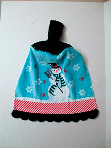 Snowman Crochet Top Hanging Towel With Decorative Bottom Trim