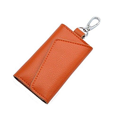 ODN Herren Multifunktionale Schlüsselmäppchen Leder Schlüsseletui Schlüssel Hülle Auto Schlüsselanhänger Tasche (Orange)