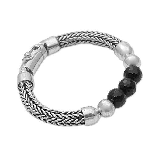 (NOVICA Onyx .925 Sterling Silver Beaded Bracelet, 8.75