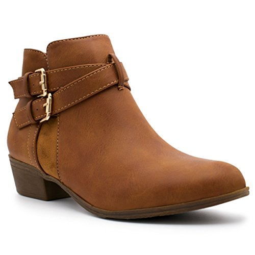 Stacked Top 14 Cl Women's Booties Heel Ankle Straps Buckle Tan1 Low Pu Moda prwqCYp