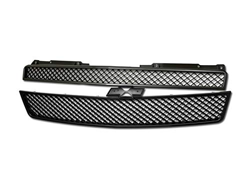 Brightt (I3-DOQ-418) 2007-2012 Chevy Tahoe/Avalanche/Suburban 2Pcs Bentley Style Abs Mesh Grille Upper+Cross Basement+Lower - Matte Black
