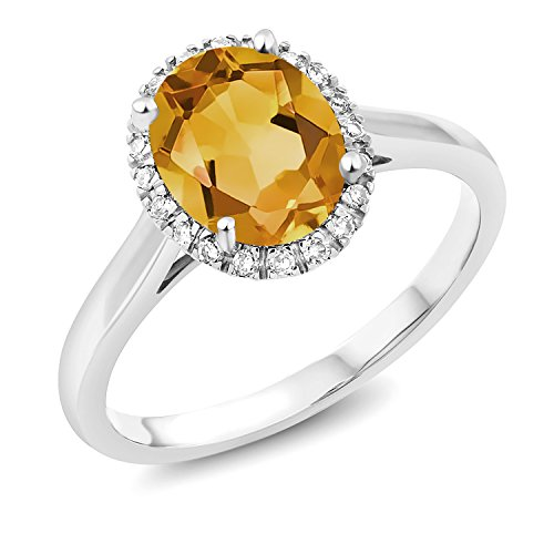 - 1.50 Ct Oval Yellow Citrine 10K White Gold Ring (Size 5)