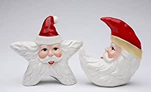 Cosmos Gifts 56530 Star and Moon Santa Salt and Pepper Set, 3-1/2-Inch