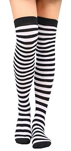 Knee High Socks Women's Retro Striped Thigh High Socks Tube Socks,BK WH - Retro Zebra