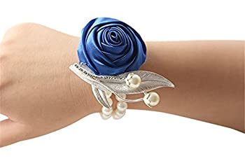 Jackcsale Fashion Wedding Bridesmaid Wrist Flower Corsage Party Hand Flower Decor with Faux Pearl Bead Wristband Blue Pack of 2