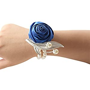Florashop Wedding Bridal Corsage Bridesmaid Wrist Flower Corsage Flowers Pearl Bead Wristband for Wedding Prom Party Homecoming 69