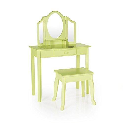 Guidecraft Vanity Table and Stool Set with Mirror and Make-Up Drawer - Children's Furniture - Light Green by Guidecraft (Image #1)