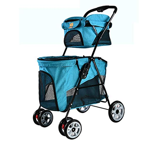 Chrome Eva Double Handle - MZP Double Pet Roadster, Easy Foldable Separate Bag Suspension Cup Holders Storage Basket Pushchair 6 EVA Steel Wheels Maximum Weight 15Kg 600D PVC Cloth (Color : Chrome)