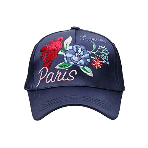 Letter Rose Embroidery Hat Mercerized Men Or Ladies Outdoors Visor Dome Flat Baseball Cap (Color : Blue)