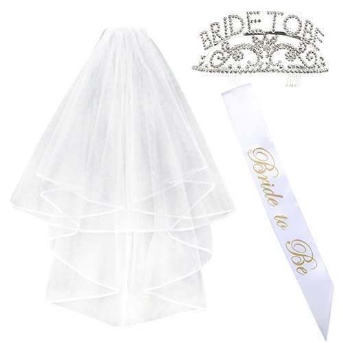 ManYee Ivory Wedding Veil with Comb and Bride To Be Sash Tiara Crown Headband Hens Night Bachelorette Party Supplies Engagement Bridal Shower Proms