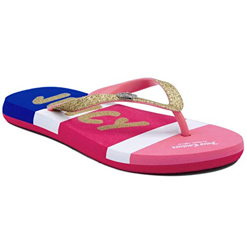 Juicy Couture JC Colfax Kids Girls Fashion Thong Summer Flats Pink/Gold 3 Little - Shoes Couture