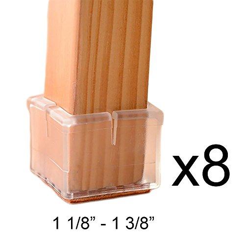 MelonBoat Chair Leg Feet Wood Floor Protectors Set, Felt Pads, Square 1-1/8  to 1-3/8