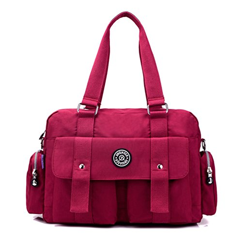 TianHengYi Women's Big Capacity Water Resistant Nylon Tote Duffel Shoulder Bag Handbags Weekender Bag Red Duffle Purse Handbag