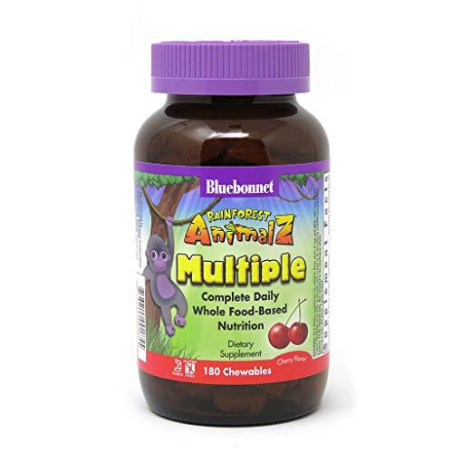 Bluebonnet Nutrition Rainforest Animalz Whole Food Based Multiple Chewable Tablet, Kids Multivitamin & Mineral, Vitamin C, D3, Iron, Gluten Free, Milk Free, Kosher, 180 Chewable Tablets, Cherry Flavor