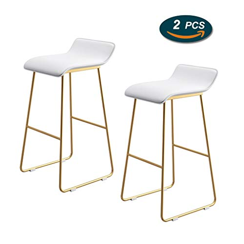 Modern Contemporary Bar Stools with Gold Metal Legs Bar Counter Height Armless White Plastic Seat Pub Bistro Kitchen Dining Side Chair Barstools (1pcs,Set of 2)