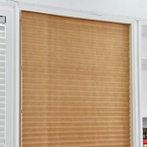 Temporary Blinds,Instant Easy to Install No Tools Needed Fits Any Size Cordless Window Blinds,Brown 23.6