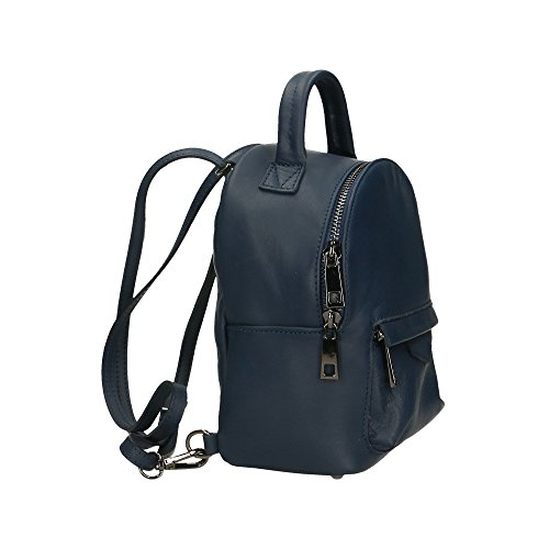 in en dos 17x20x11 véritable Cm Foncé Italy petit sac Bleu Made à femme Aren Sac cuir nY4FgqvY