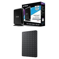 NETGEAR Nighthawk AC1900 Wi-Fi DOCSIS 3.0 Cable Modem Router (C7000-100NAS) & Seagate Expansion 1TB Portable External Hard Drive USB 3.0 (STEA1000400) Bundle
